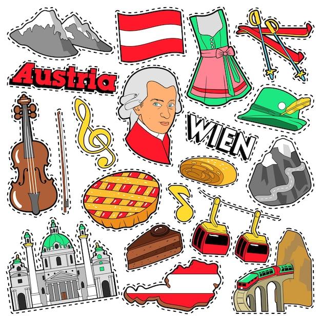 Austria travel scrapbook aufkleber, patches, abzeichen für drucke mit alpen, kuchen und österreichischen elementen. comic style doodle Premium Vektoren