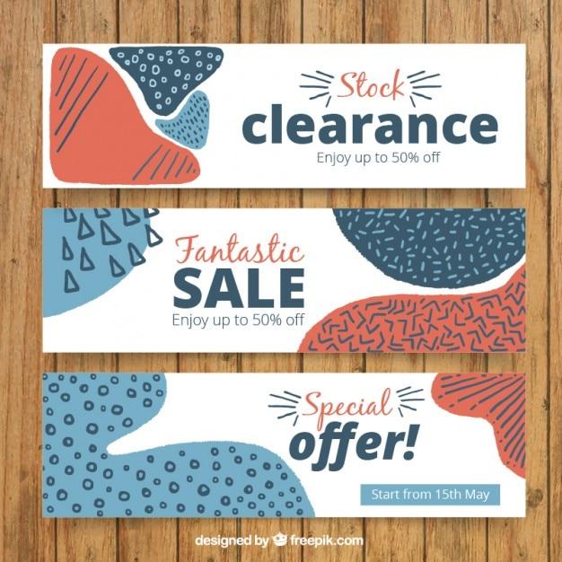 Ausverkauf banner mit abstrakten formen Kostenlosen Vektoren