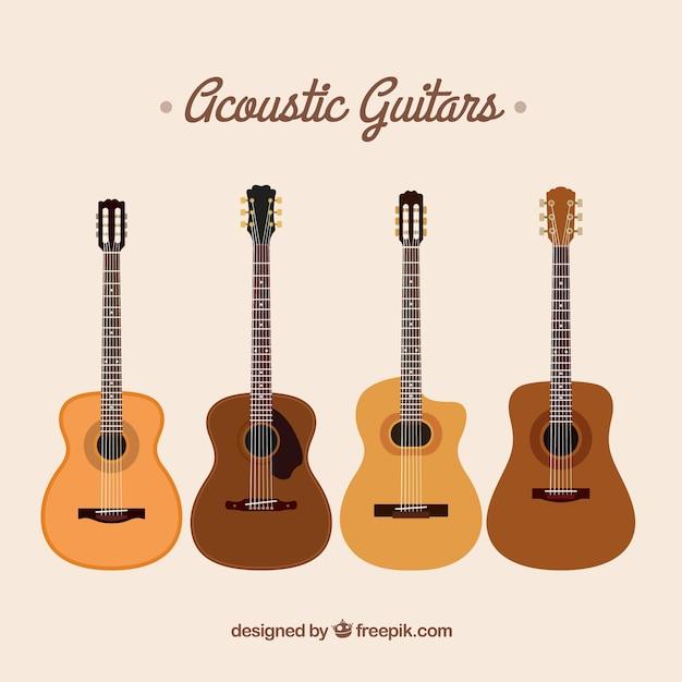 Auswahl von akustikgitarren in flachem design Kostenlosen Vektoren