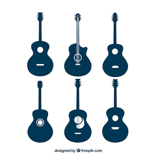 Auswahl von akustischen gitarren-silhouetten Kostenlosen Vektoren