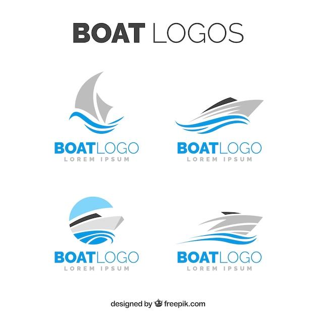 Auswahl von bootslogos in minimalistischem design Kostenlosen Vektoren