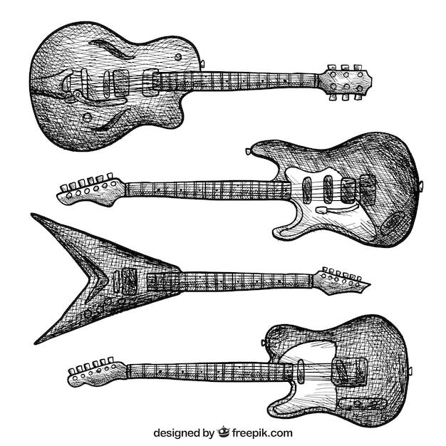 Auswahl von e-gitarren im vintage-stil Kostenlosen Vektoren