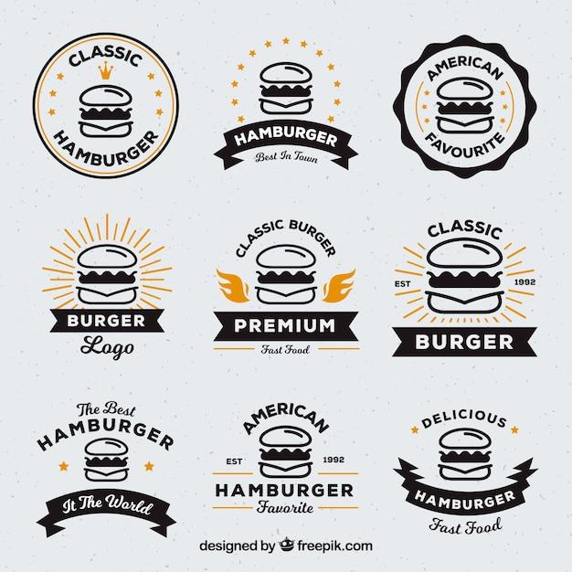 Auswahl von neun burger logos mit orange details Kostenlosen Vektoren