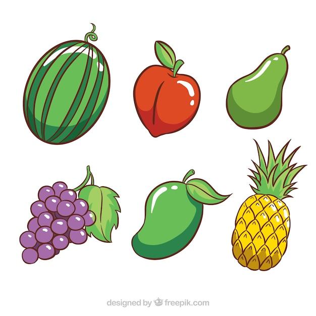 Auswahl von sechs farbigen früchten Kostenlosen Vektoren