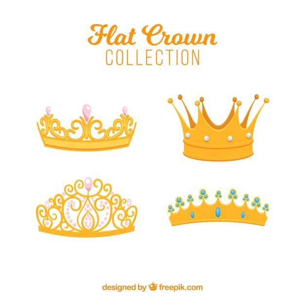 Auswahl von vier flachen kronen mit dekorativen edelsteinen Kostenlosen Vektoren