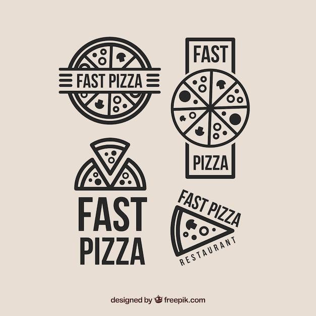 Auswahl von vier logos für pizza Kostenlosen Vektoren
