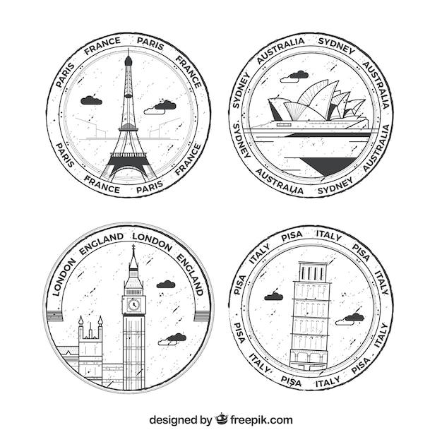Auswahl von vier runden briefmarken mit großen städten Kostenlosen Vektoren