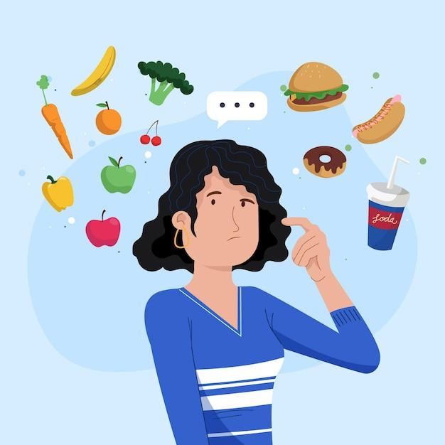 Auswahl zwischen gesunden oder ungesunden lebensmitteln dargestellt Kostenlosen Vektoren