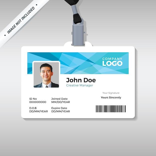 Ausweisschablone mit abstraktem blauem hintergrund Premium Vektoren