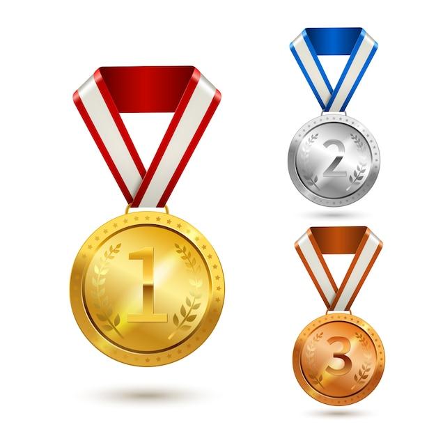 Auszeichnung medaillen gesetzt Premium Vektoren