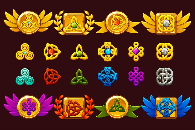 Auszeichnungen mit keltischen symbolen. vorlage spielleistung erhalten. Premium Vektoren