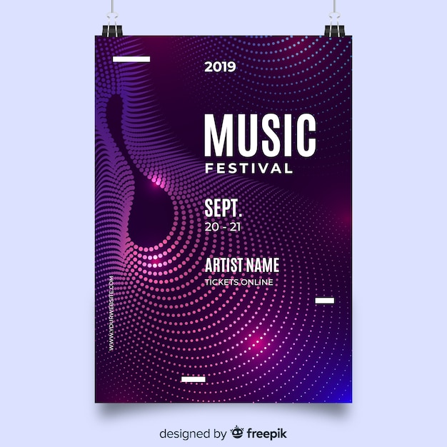 Auszug bewegt musikplakatschablone wellenartig Kostenlosen Vektoren