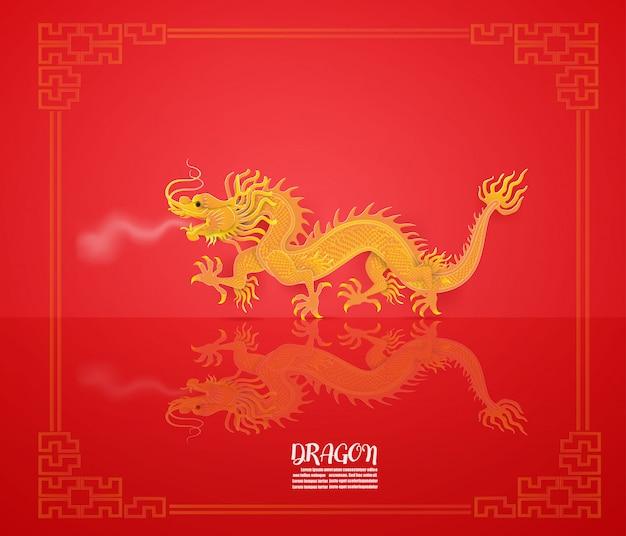 Auszug mit dem drachen golden auf rot Premium Vektoren