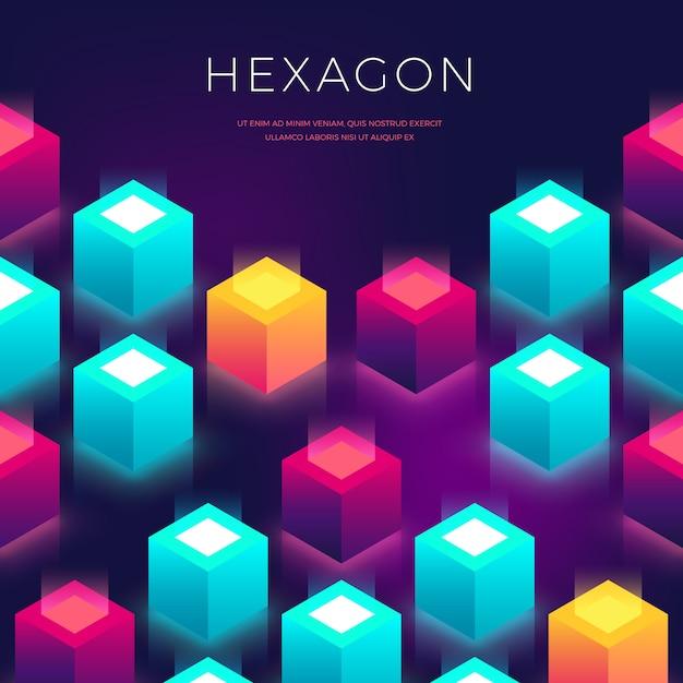 Auszug mit formen 3d. hexagon bunten hintergrund für flyer, cover, presentaion Premium Vektoren