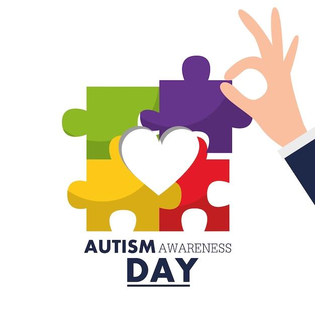 Autismus bewusstseinstag hand halten puzzleteil Premium Vektoren
