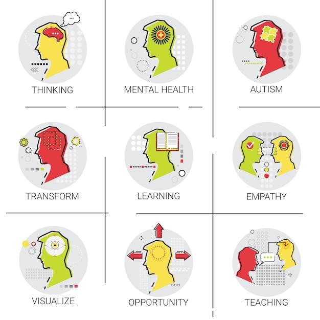 Autismus geistige gesundheit brain activity Premium Vektoren