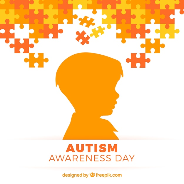 Autismus-tag hintergrund mit kind silhouette Kostenlosen Vektoren