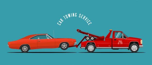 Auto-abschleppwagen-service mit abschleppwagen und auto. Premium Vektoren