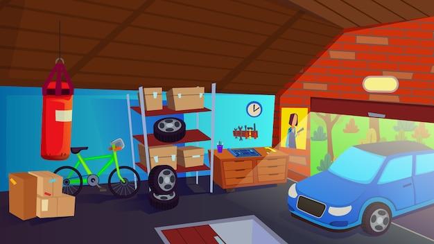 Auto-antrieb im garagen-innenlagerraum für selbstillustration Premium Vektoren