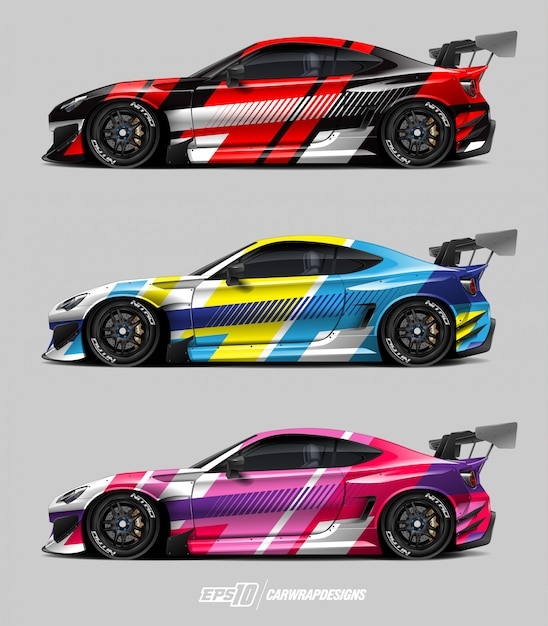 Auto aufkleber design set Premium Vektoren