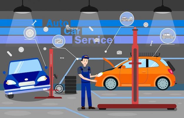 Auto-auto-service-optionen promo-banner-vorlage Premium Vektoren
