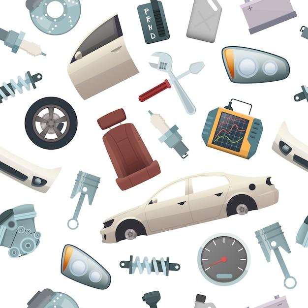Auto bearbeitet muster. mechanikerdetails von automobil lokalisierten nahtlosen bildern der teilmotorrad-getriebetür-körperkarikatur Premium Vektoren