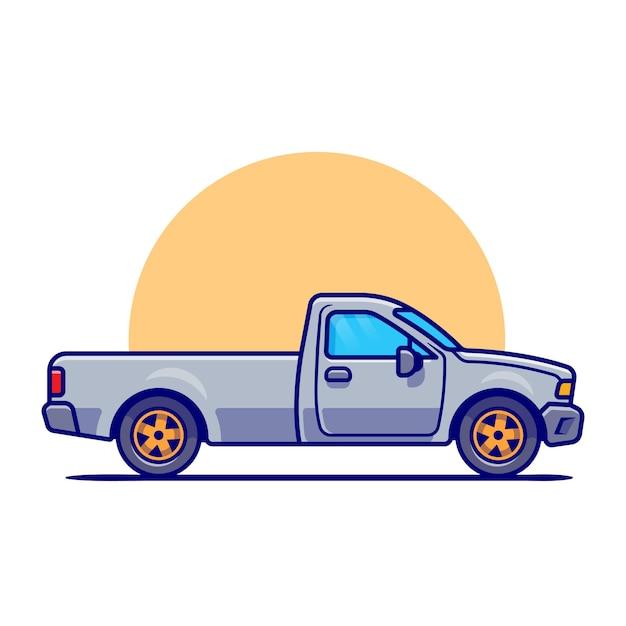 Auto-cartoon abholen. fahrzeugtransport isoliert Premium Vektoren