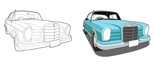 auto cartoon malvorlagen für kinder  premiumvektor