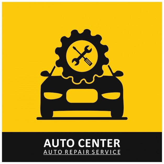 Auto Center Auto Repair Service Gear Icon mit Tools und Auto Gelben Hintergrund Kostenlose Vektoren