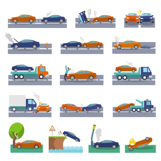 Auto crash und unfälle symbole gesetzt mit kollision feuer flut versicherung veranstaltungen vektor-illustration Kostenlosen Vektoren
