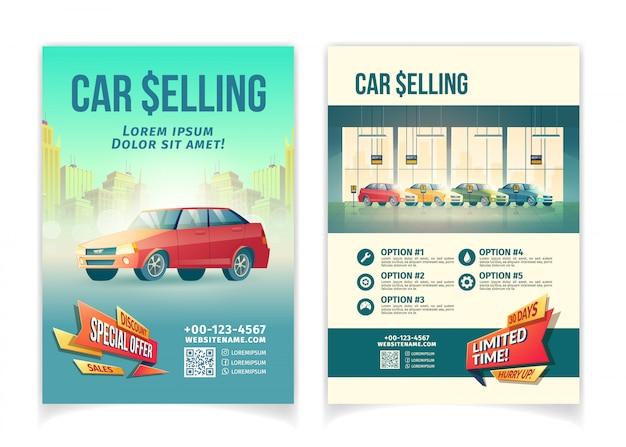 Auto, das sonderangebot-karikatur-werbeflyer der begrenzten zeit, fördernde plakatschablone verkauft Kostenlosen Vektoren
