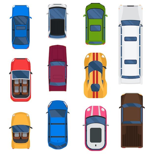 Auto draufsicht gesetzt. Premium Vektoren