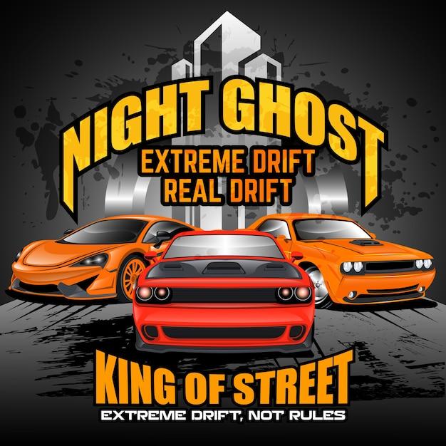 Auto driftet die straßen nachts, autovektorillustrationen Premium Vektoren