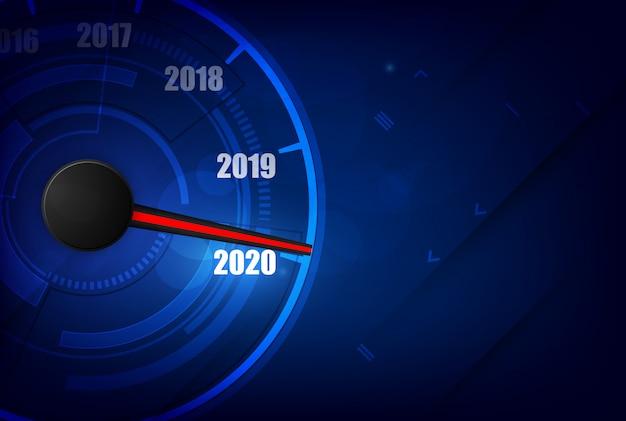 Auto-geschwindigkeitsmesser des neuen jahres 2020, roter indikator auf schwarzem unschärfehintergrund Premium Vektoren