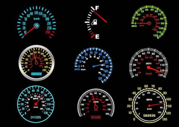 Auto geschwindigkeitsmesser Premium Vektoren