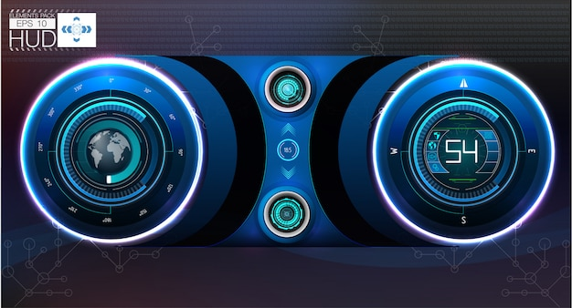 Auto-hud-dashboard. abstrakte virtuelle grafische notenbenutzeroberfläche. Premium Vektoren