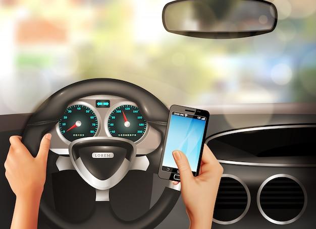 Auto innerhalb des realistischen konzeptes Kostenlosen Vektoren
