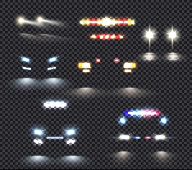 Auto licht set Kostenlosen Vektoren