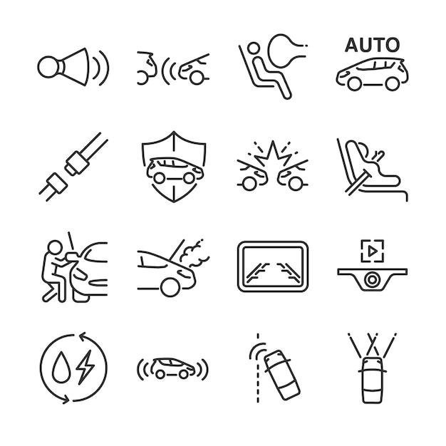 Auto linie icon-set. Premium Vektoren