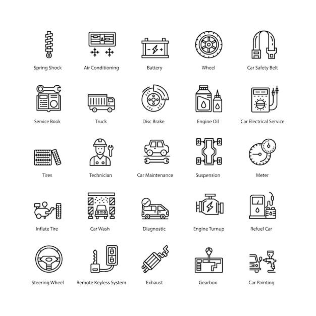 Auto maintenance icons pack Premium Vektoren