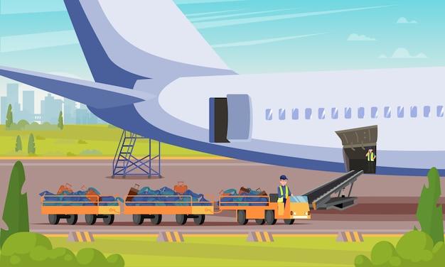 Auto mit gepäck-passagier-flache illustration. Premium Vektoren