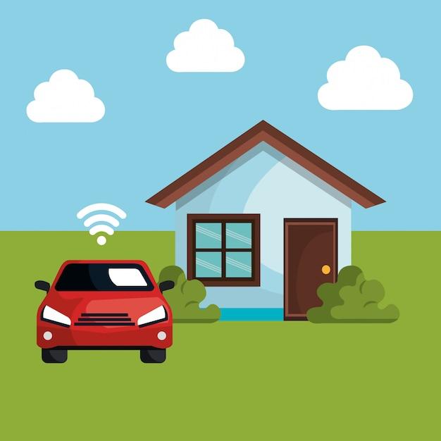 Auto mit wlan-signal und haus Kostenlosen Vektoren