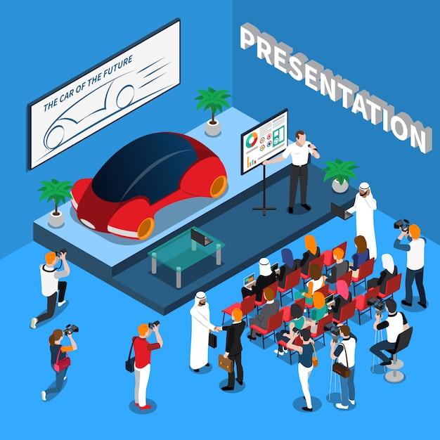 Auto präsentation isometrische darstellung Kostenlosen Vektoren