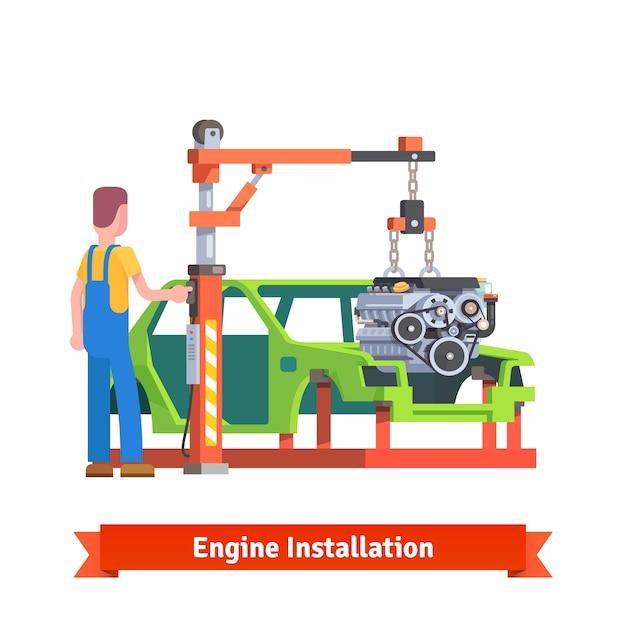 Auto produktionslinie oder reparaturwerkstatt Kostenlosen Vektoren