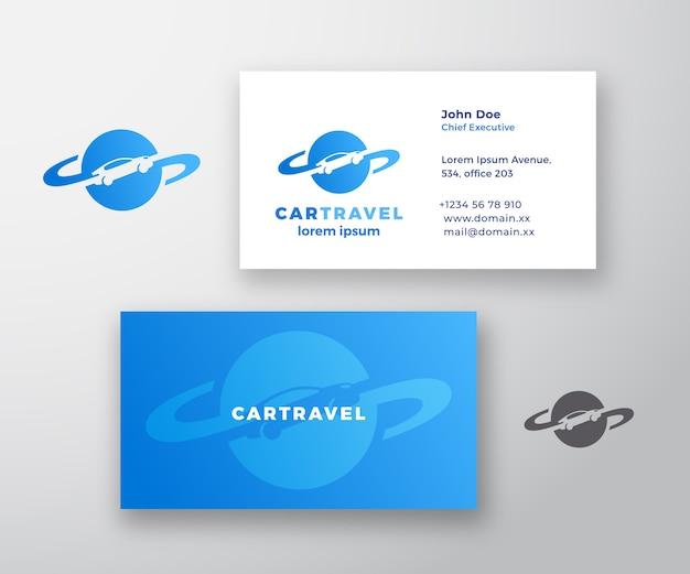 Auto reisen abstraktes logo und visitenkarte Premium Vektoren