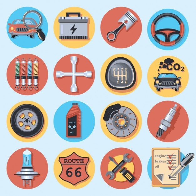 Auto-reparatur-icon collection Kostenlosen Vektoren
