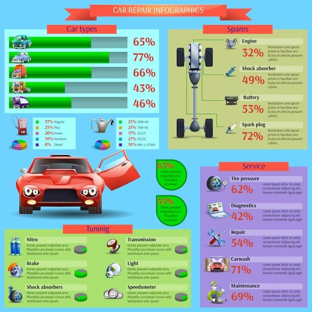 Auto-reparatur-infographik-set Kostenlosen Vektoren