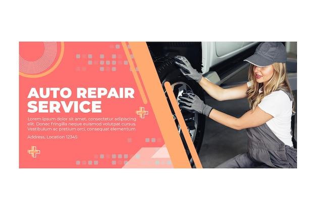 Auto reparatur mechaniker banner Kostenlosen Vektoren