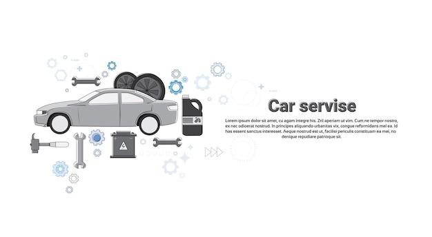 Auto-service-automechaniker-geschäfts-netz-fahnen-vektor-illustration Premium Vektoren