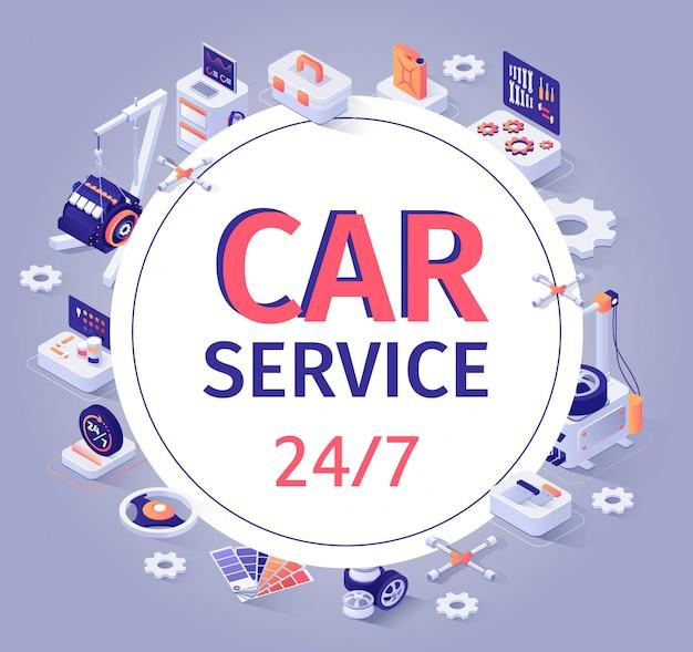 Auto-service-banner-angebot 24/7 kundendienst Premium Vektoren